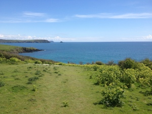 walking down to Porthcurnick Beach